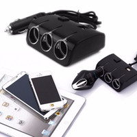3 enchufes Way Car Auto Cigarrillo Encendedor Splitter Power Adapter Dual 2 cargador de coche USB para el iphone samsung DVR GPS