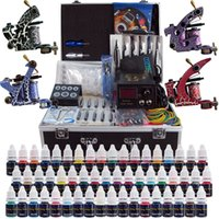 Wholesale Tattoo Needle Complete - Complete Top Tattoo Kits 4 Machine Guns 40 Color Inks Sets Tattoo Power Supply 50 Pcs Tattoo Needles Grip Tip