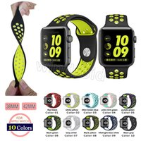 Wholesale Loop Bracelets - NK Hole Loops Strap Replacement Silicone Wrist Bracelet Sport Band Strap For Apple Watch Strap iwatch 38mm 42mm 16 colors Free shipping