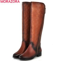 Wholesale Womens Wedge Heel Motorcycle Boots - Wholesale-MORAZORA 2016 new Brand Quality Winter Womens Boots PU+Genuine Leather Knee High Boots Flats Heels Shoes Women motorcycle Boots