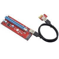 pci ifade 1x kartlar toptan satış-Siyah / Kırmızı Genişletici Kablo USB 3.0 Dönüştürücü SATA PCI Express PCI-E 1X 16X Yükseltici Kart için 15Pin DC Güç Kaynağı Kablosu 60 CM Bitcoin Madencilik
