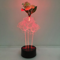 3D Roses Illusion Lamp Night Light avec Flower DC 5V USB Chargeur AA Battery Wholesale Dropshipping Expédition gratuite Retail Box