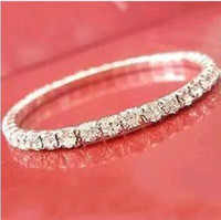 Wholesale Round Row - Free Shipping Hot sale Elastic 1 Row Sliver plated Crystal Bangle Bridal Bracelets Party Jewelry 2017