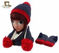 Wholesale Knitting Hat Pattern For Children - 2017 kids children Knit Hat Scarf Gloves 3 pcs winter set for girls boys snowflake pattern style