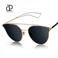 Wholesale Eye Glasses Temple - Wholesale- FEIDU Hot Selling Double Girder Sunglasses Metal Temples Coating Mirror Luxury Brand Designer Sun Glasses Driving Retro With Box