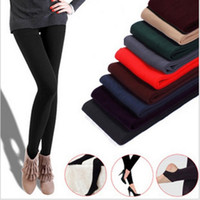 Wholesale Wholesale Thicken Leggings - 2017 New Women Fleece Black Fashion Leggings Thicken Winter Elastic Soild Slim Leggings Casual Wholesale ankle-length Legging Knitted