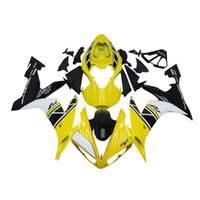 siyah sarı motosiklet fuar toptan satış-Yamaha YZF 1000 YZF Için 3 ücretsiz hediyeler Komple Fairings R12004 2005 2006 Enjeksiyon Plastik Motosiklet Tam Fairing Kiti Sarı siyah bb12