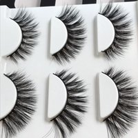 Wholesale Big False Eye Lashes - 3 Pairs False Eyelashes Natural Long Crisscross Thick Messy Soft Fidelity Mink Fake Eyelashes Cotton Thread Stall Makeup Big Eyes Lashes
