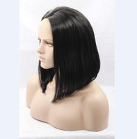 Wholesale Short Dark Blue Hair - Short bob synthetic hair lace front middle part black hair baby hair glueless wig with combs and straps any color can available
