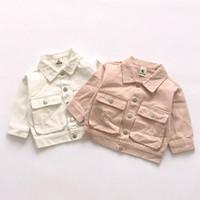 Wholesale Denim Jackets Toddler - Girls Spring Coat Fall Kids Clothing European Denim Jackets Children Outerwear Fashion Toddler Print Baby Clothes White Pink New