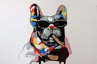 Wholesale Museum Art - Framed French Bulldog Cigar Dark Glasses Mixed Media Pop Art,Genuine Hand Painted Modern Animal oil Painting Museum Quality Multi size J034!