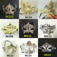 Wholesale Man Masquerade Masks Laser Cut - Wholesale- Wholesale A variety of shapes and colors Vintage metal laser cutting Phantom Halloween Mask Venice Carnival masquerade men