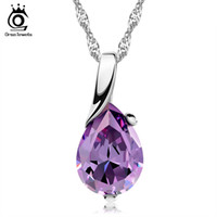 Wholesale Crystal Party Tops - 2014 New Design, Amythest Pendant Necklace,925 Sterling Silver on 3 Layer Platinum Plated,Top Quality Jewelry Free Shipping ON39