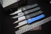 Wholesale E Pocket - Microtech Ultratech D E T E S E blade out the front Combat Auto Tactical Knife( CNC D2 steel ) 6061-T6 aluminum handle EDC Pocket knives