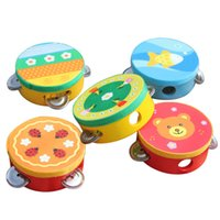 Wholesale Hand Wooden Bells - Wholesale- Baby Kids Wooden Musical Toys Drum Rattles Toy Tambourine Educational Toys Gift Hand Held Tambourine Drum Bell GYH