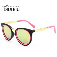 Wholesale cute round sunglasses resale online - DIDI Cute Round Children Sunglasses For Kids Girls Boys Alloy Pink Glasses Circle Lens Coating Luxury Eyewear Brand Lunette C758