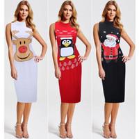 Wholesale Women Santa S Clothes - Fashion Sexy Women Dress Dresses Ladies Girls Elegant Santa Claus Deerlet Christmas Party Dress Sleeveless Bodycon Dresses Women Clothes 375