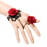 Wholesale Gothic Bracelets Rings - European and American flowers lace Gothic retro bracelet ring bridal gloves dress with accessories female photography decorative props