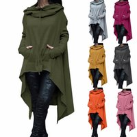 Mode Femmes Solid Color Draw Cord Coat Long Sleeve Loose Casual Poncho Coat Hooded Pullover Long Hoodies Sweatshirts Taille Plus CL049
