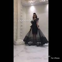 schwarzer peplum rock großhandel-2017 Schwarz Glitter Perlen Short Prom Kleider mit Sheer Rock Capped Ärmeln und Peplum Party Kleider