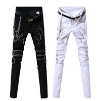 Wholesale Punk Rock Pants Zippers - Wholesale-2016 Fashion Jean Men Zipper Punk Harajuku Holes Pencil Pants Chain Biker Skinny Ripped Jeans For Men Denim Trousers Rock Singer
