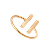 anéis de amizade para mulheres venda por atacado-Preço de fábrica FashionDouble Bar Anel de Prata de Ouro Rosa Banhado A Ouro Presentes do Partido Felicidade Amizade Anéis para As Mulheres Podem Misturar Cor EFR033