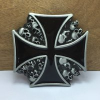 Wholesale Wholesale Pewter Crosses - BuckleHome fashion cross with skulls belt Buckle with silver and pewter finish FP-01235 with continous stock free shipping