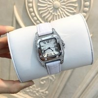 Wholesale Silver Chain Mm - 2017 Luxury Women Leather watch Lady female quartz Steel Bracelet Chain rose Dress Watch with diamond Japan Movement Relojes De Marca Mujer