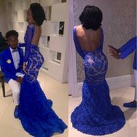 Wholesale Drape Neck Shirt - Black Girl 2K17 Royal Blue Lace Prom Evening Dresses Mermaid Bateau Illusion Long Sleeves Vestidos de Fiesta Celebrity Gowns Arabic 2017