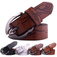 metal destek sırtları toptan satış-Sıcak Satış 70% FAUX deri + 30% inek deri sırtlı erkek kemerleri erkekler için büyük metal pin toka kovboy kemerler cintos ceinture