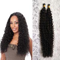 Wholesale Deep Wave Tip Extensions - Natural Color keratin extensions I tip human hair extensions 100g strands 1 bundles Brazilian deep Wave Hair fusion human hair extensions