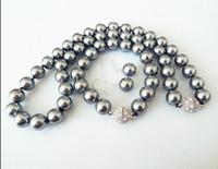 Wholesale Earring Bracelet Set Grey - wholesale 10mm grey natural shell pearl fashion bracelet earring necklace set