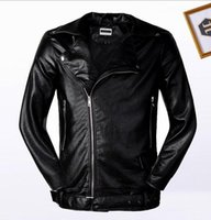 Men organic bamboo clothes - 2017 new men and women in Europe and the United States Slim motorcycle clothes youth PU leather jacket jacket baseball collar men