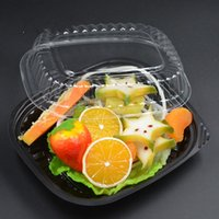 Wholesale black snacks - Disposable Lunch Box Anti Fog Transparent Multi Function Salad Snack Packing Boxes Black Bottom Hot Sell 0 6zq R