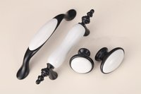 Wholesale black door knobs - European style Black and white ceramic single door knob cabinet kitchen drawer pull furniture handle Pitch row 76 96 128 mm#334