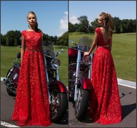 Wholesale Embroidery Belt - Red Vintage Lace Evening Dresses 2017 Bateau Neck A Line with Belt Cap Sleeve with Embroidery Prom Gowns South Africa Robe De Soiree