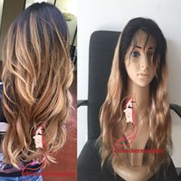 Wholesale Human Hair Blonde 27 - Honey Blonde Ombre Full Lace Wig Two Tone 1B 27 Dark Root Ombre Body Wave Human Hair Lace Front Wigs