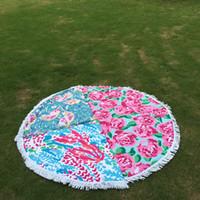 ingrosso materiale yoga mats-LLY Asciugamano da spiaggia rotondo floreale con nappe rosa Flamigo Asciugamano di corallo Materiale di stoffa Asciugamano da spiaggia Cerchio da spiaggia Coperta Yoga Mat DOM106548