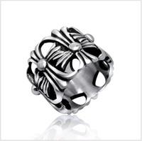 zeigefingerringe für frauen großhandel-Männer Ringe Klassische Antike Kreuz Hohl Appendix Designs Titan Stahl Zeigefinger Band Ring für Frauen 1 stücke