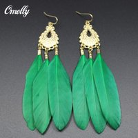 Wholesale Cheap Feathered Earrings - Vintage Natural Feather Earrings Dangle Chandelier New Bohemian Style Green Feather Long Earrings Women Jewelry Christmas Gift Cheap!