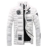 Wholesale White Mandarin Jacket - Wholesale- Winter Jacket Men 2016 New Design Fashion Casual Stand Collar Thick Warm White Down Coat Men Brand Clothing Plus Size M-XXXL