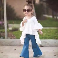 Wholesale Evening Gowns Wholesale Sleeves - 2016 New Baby Girls Princess Dresses Autumn Cotton Ruffled Formal Dress Fairy White Swallowtail Evening Gowns Kids Girl Denim Pants