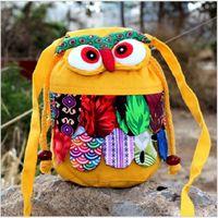 Wholesale Owl Fabric Bag Free Shipping - New Fashion Preschool Women Colorful Owl Bags Yunnan Ethnic Fabric Owl National Phone Baby Bags Free Shipping