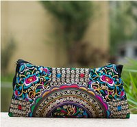 Wholesale Hmong Bags - Wholesale-National Ethnic Vintage embroidery bag Embroidered one-shoulder messenger bag Hmong Handmade women's small Clutch handbag