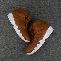 "Wholesale Ix 35 - With Number ""35"" Retro 9 IX Baseball Brown White Mens Basketball Shoes Sneakers 9s Sports Trainers Men 2017 new With Shoes Box"