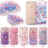 Wholesale moving case iphone - Flamingo Pattern Liquid Moved Quicksand Soft TPU Bumper Frame Hard Cover Case For iPhone 6 7 plus i6 i7