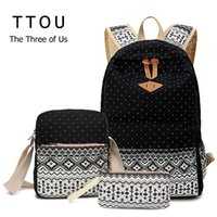 Wholesale One Piece School Bag - Wholesale- Canvas Printing Backpack Women School Bags for Teenage Girls Cute Bookbags Laptop Backpacks Female Bagpack 3 Piece one Set