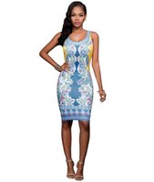 Wholesale Cheap Spandex Bodycon - wholesale cheap price summer style paisley printed sleeveless crew neck package hip pencil casual dress for womens