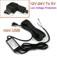 Wholesale Mini Converter Dc - Wholesale- Car DC Converter Module 12V 24V To 5V 2A with 90 Curved mini USB Cable, Low Voltage Protection, Cable Length 3.5m ( 11.4ft )