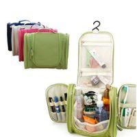 d99c1ff22b7 Wholesale- Portable Makeup Make up Toiletry Washing Cosmetic Bag Oxford  Compartment Organizer Storage Hanging Travel Kit Hand bag Bulk